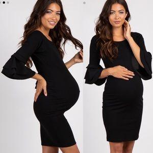 PinkBlush Black Ruffle Sleeve Maternity Dress